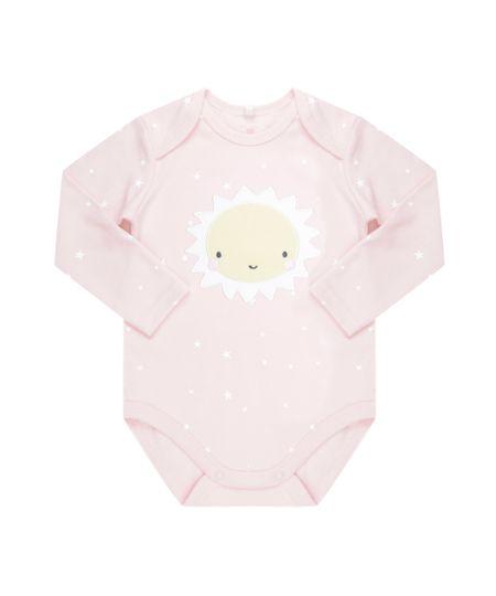 Body Estampado Sol em Algodão + Sustentável Rosa Claro