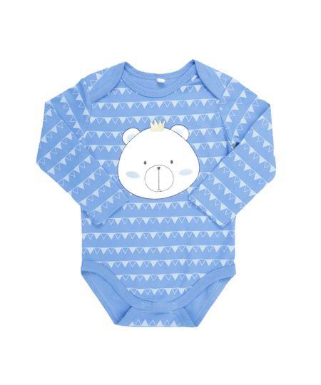 Body Estampado Urso em Algodão + Sustentável Azul