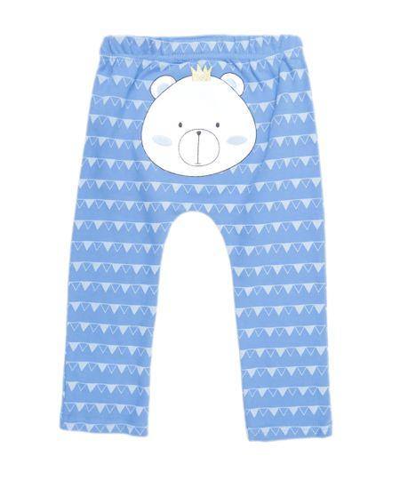 Calça Estampada Urso em Algodão + Sustentável Azul