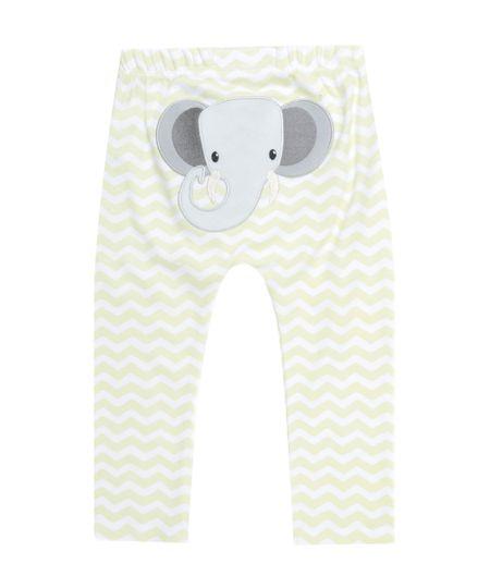 Calça Estampada Elefante em Algodão + Sustentável Off White