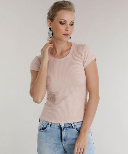 Blusa Básica Canelada Rosa Claro