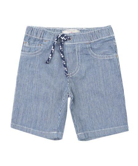 Bermuda Jeans Listrada Azul Médio