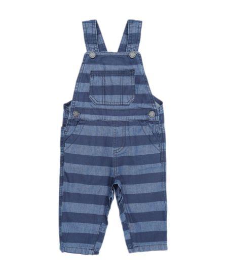 Macacão Jeans Listrado Azul Escuro