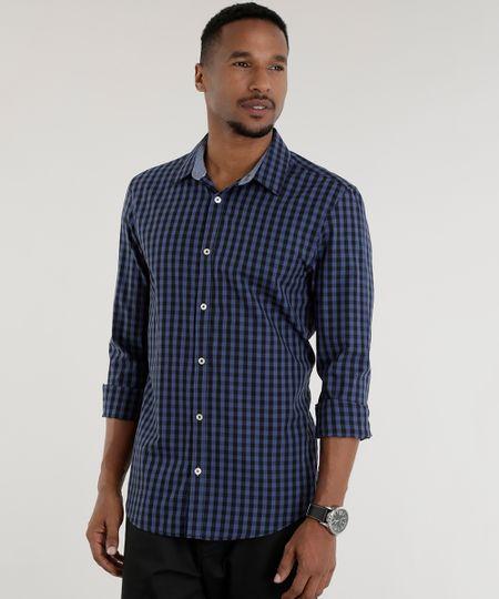 Camisa Slim Estampada Xadrez Azul Marinho