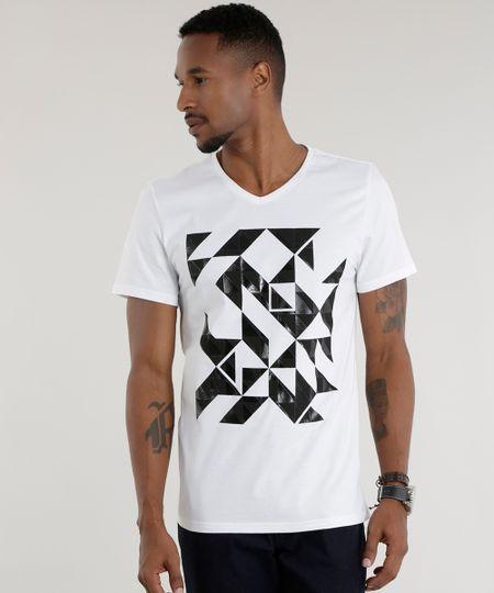 Camiseta com Estampa Geométrica Branca