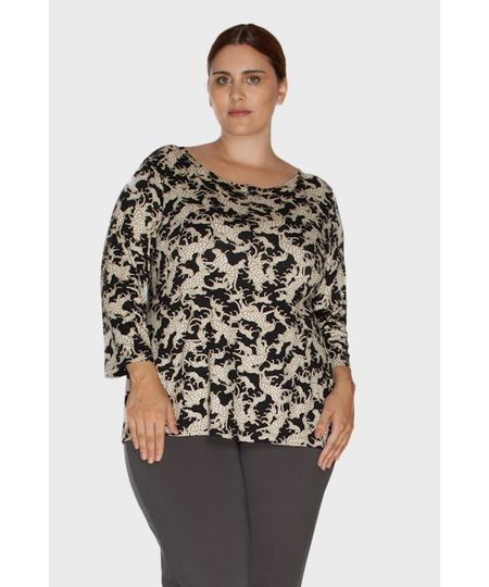 Blusa Estampada Leopardo Plus Size