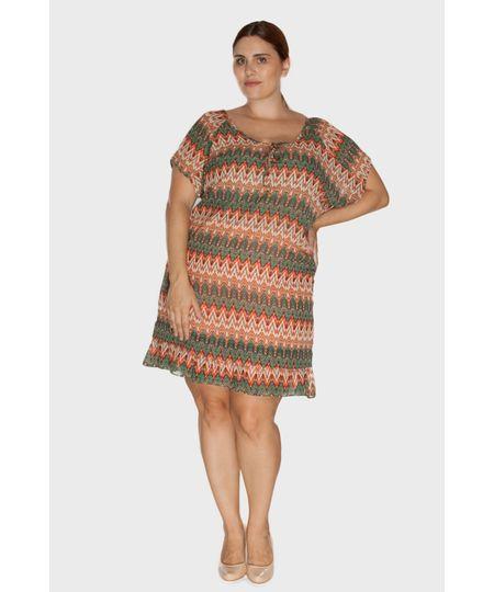Vestido Crepe com Babado Plus Size