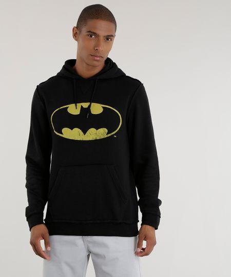 Blusão em Moletom Batman Preto