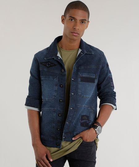 Jaqueta Jeans com Patchs Azul Escuro