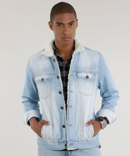 Jaqueta Jeans com Pelos Azul Claro
