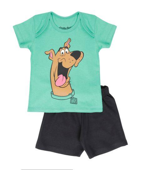 Conjunto Scooby-Doo de Camiseta Verde + Bermuda em Moletom Preta