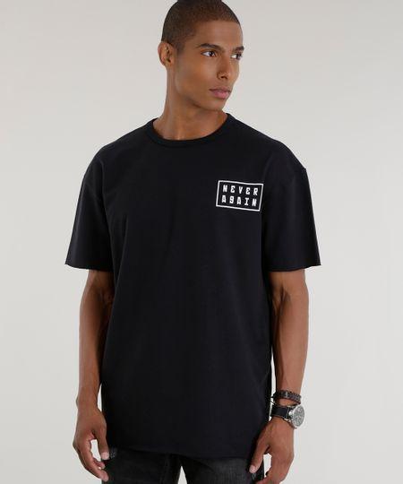 Camiseta Longa em Moletom Preta