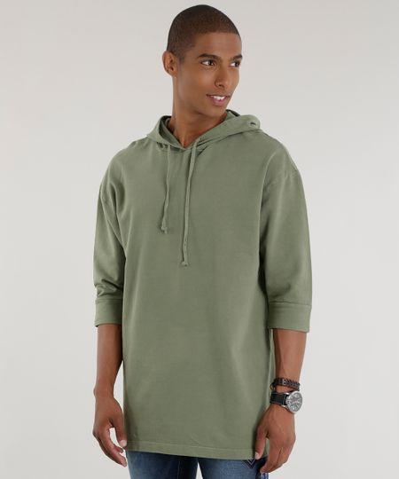 Blusão em Moletom Verde Militar
