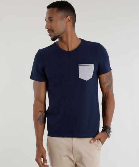 Camiseta em Piquet Azul Marinho