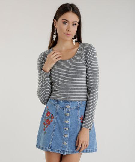 Blusa Cropped Listrada Cinza Mescla