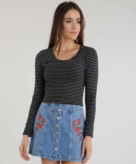 Blusa Cropped Listrada Preta