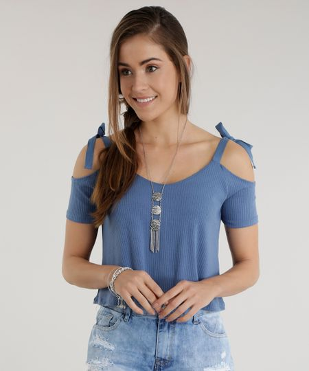 Blusa Cropped Open Shoulder  Azul