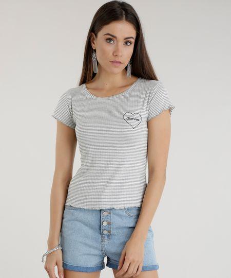 Blusa Canelada Listrada com Bordado Cinza Mescla