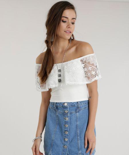 Blusa Cropped Ombro a Ombro com Renda Off White