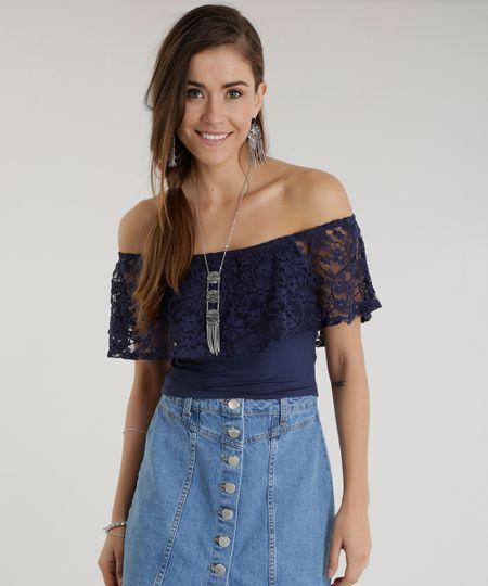 Blusa Cropped Ombro a Ombro com Renda Azul Marinho