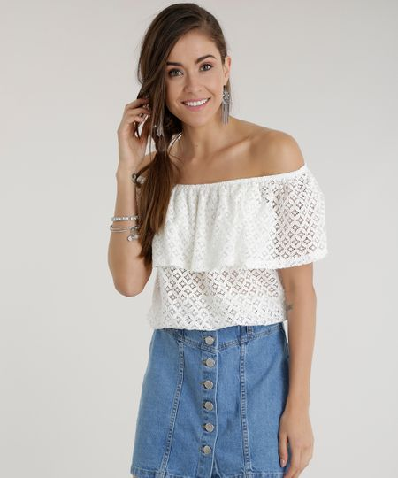 Blusa Cropped Ombro a Ombro em Renda Off White