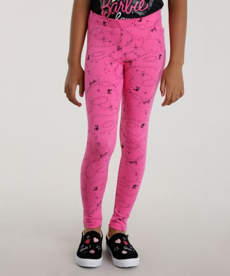 Calça Legging Estampada Barbie Pink