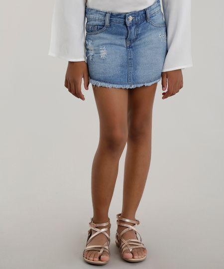 Short Saia Jeans com Bordado Azul Claro