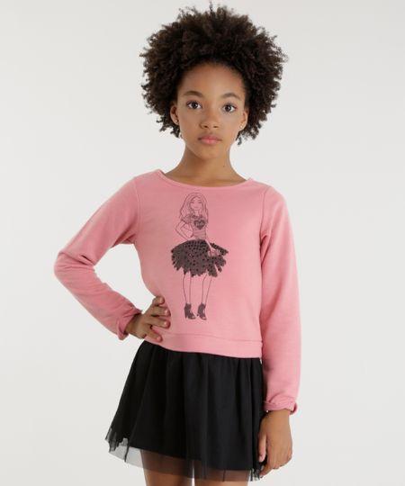 Vestido em Moletom com Tule Barbie Rosa