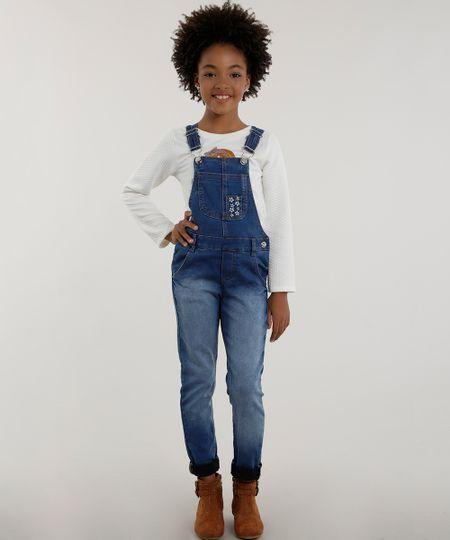 Macacão Jeans com Bordado Azul Médio