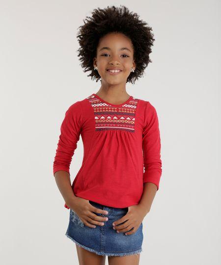 Blusa com Estampa Étnica Vermelha