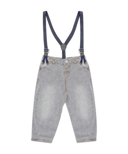 Calça Jeans em Algodão + Sustentável com Suspensório Cinza