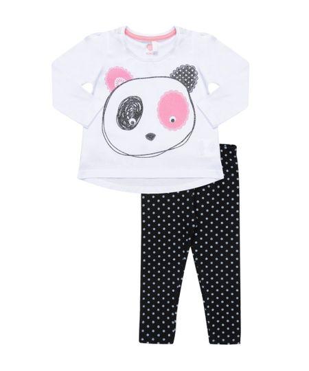 Conjunto de Blusa Branca + Calça Legging Preta