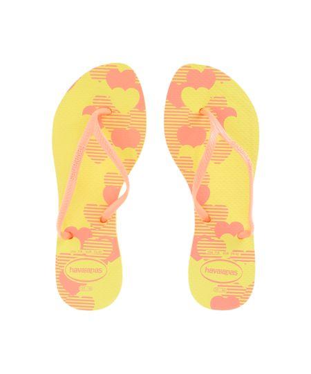 Chinelo Havaianas Estampado de Corações Amarelo