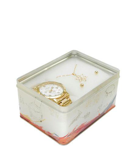 Kit de Relógio Condor Feminino Analógico + Colar + Brinco - CO2035KLC4B Dourado