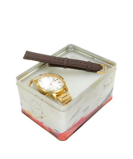 Kit de Relógio Condor Analógico Feminino + Pulseira - CO2115TA4D Dourado