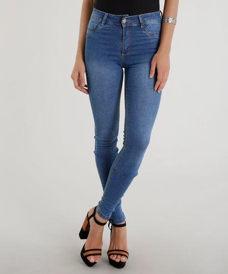 Calça Jeans Cigarrete Sawary Azul Médio