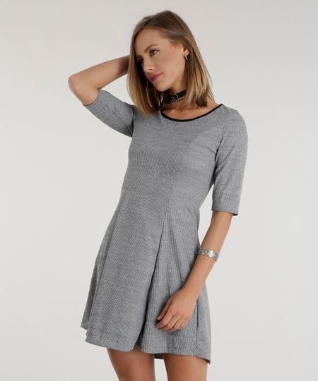 Vestido Canelado Cinza Mescla