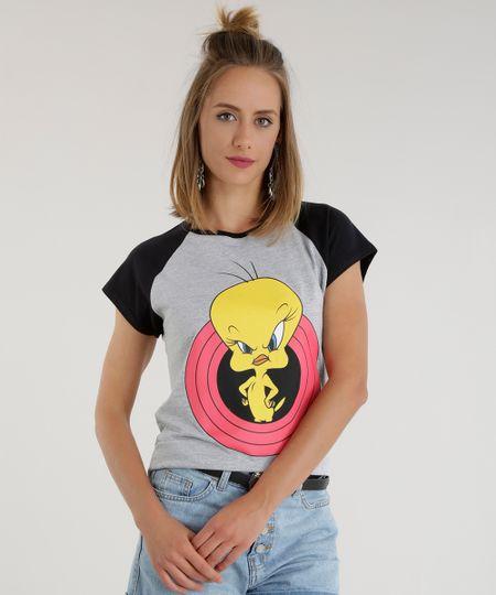 Blusa Looney Tunes Cinza Mescla