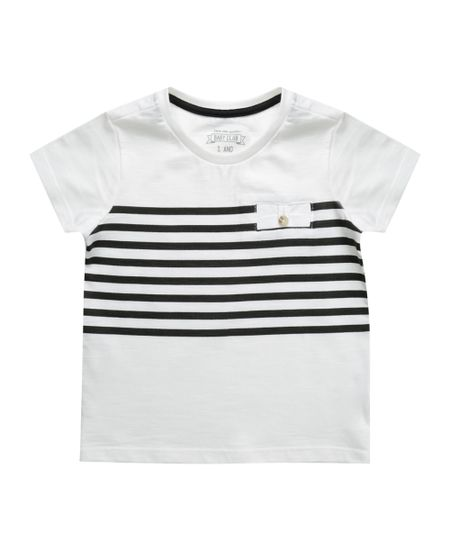 Camiseta com Listras Off White