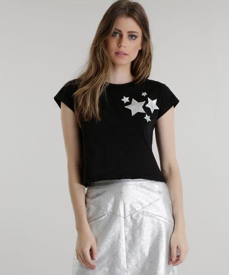 Blusa Cropped com Bordado de Estrelas Pat Pat's Preta