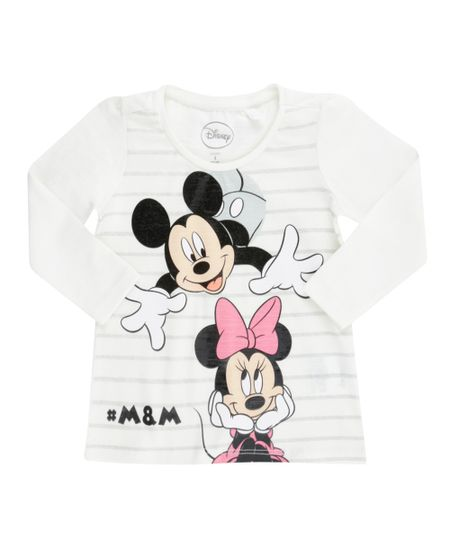 Blusa Mickey & Minnie Off White