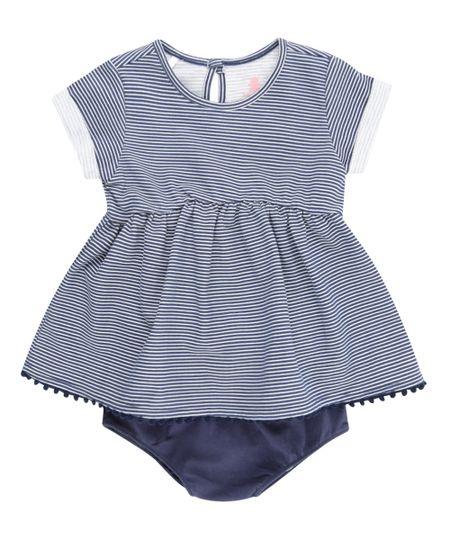 Vestido Listrado + Calcinha Azul Marinho