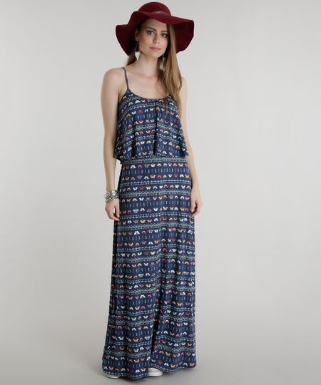 Vestido Longo Estampado de Borboletas Azul Marinho