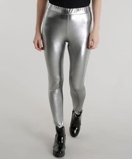 Calça Legging Metalizada Prateada