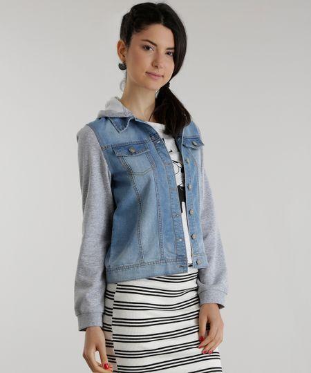 Jaqueta Jeans com Moletom Azul Claro