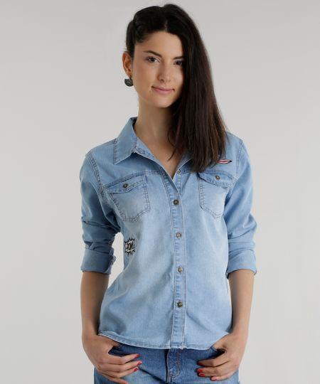 Camisa Jeans com Patchs Azul Claro