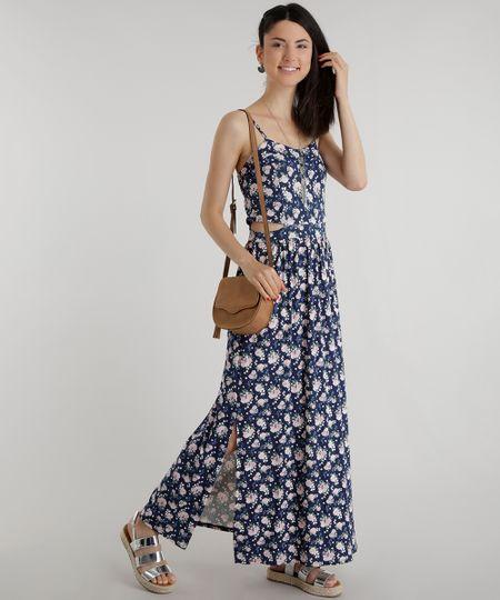 Vestido Longo Estampado Floral Azul Marinho