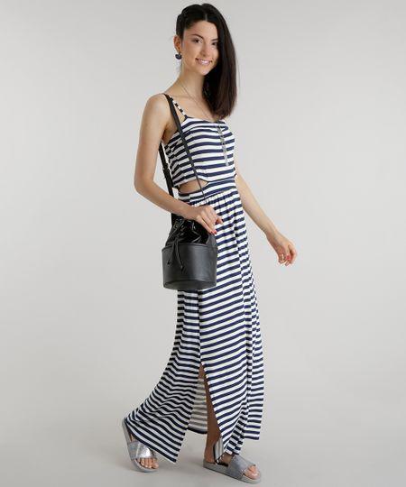 Vestido Longo Listrado Azul Marinho