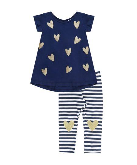 Conjunto de Blusa + Calça Legging Listrada Azul Marinho