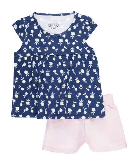 Conjunto de Blusa Estampada Floral Azul Marinho +  Short Rosa Claro